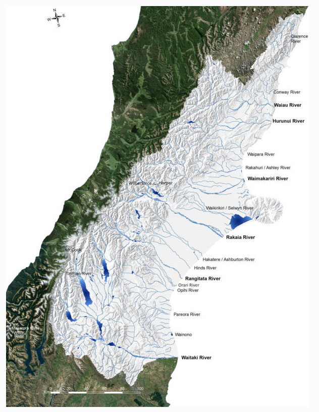 Fig. 1: Canterbury's main rivers (Image: BRaid).