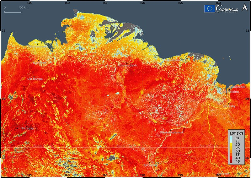 Fig. 2: Russian Arctic heat map shows air temperatures up to 45°C in some places 19 June 2020. The heat has been linked to thawing permafrost, widespread wildfires, and swarms of tree-eating moths in the region. (Image: European Union, Copernicus Sentinel-3)