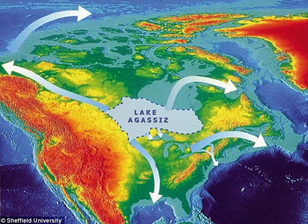 Fig. 10: Lake Agassiz in North America abruptly released freshwater into the Arctic and North Atlantic Oceans (Image:Sheffield University).
