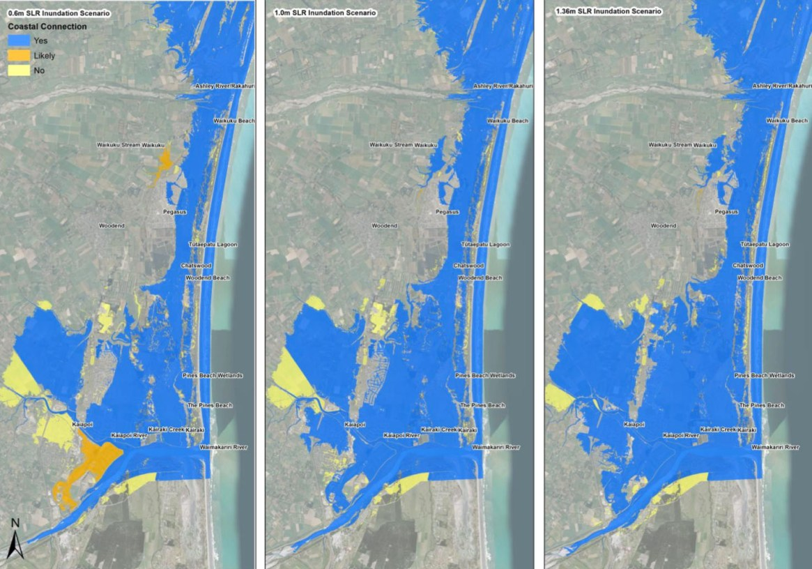 Fig. 4: A 'bathtub' snapshot of rising sea levels along a section of Pegasus Bay north of Christchurch. Sea levels are expected to reach these heights this century. The speed and impacts will depend on how soon we stop emitting greenhouse gasses, how quickly we can drawdown the excess already in the atmosphere, and how much we can restore coastal ecosystems that once acted as a buffer to rising seas. Note: this 'bathtub' image of rising sea levels doesn't factor in what might happen to sand on steep and unstable dunes. If the sediment in them is eroded by wind and waves and deposited inland, it will temporarily raise the height of low-lying wetlands behind. If they're not eroded (unlikely as they're highly unstable), then the dunes will become barrier islands as per the images above (Image: Waimakariri District Plan Review-Natural Hazards p 60).