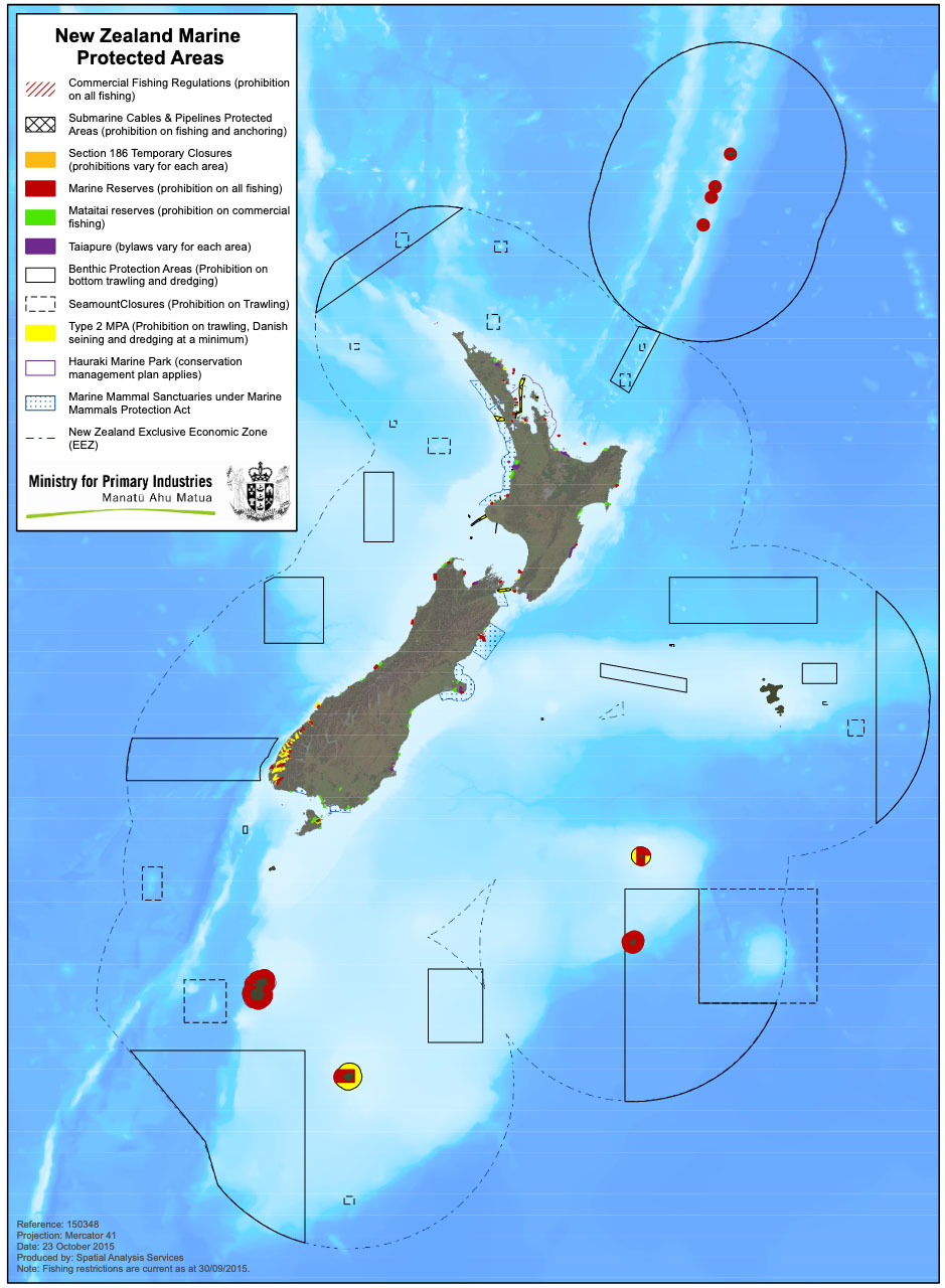Fig. 3: Marine Protected Areas around New Zealand (this is currently under review) (Image: MPI).