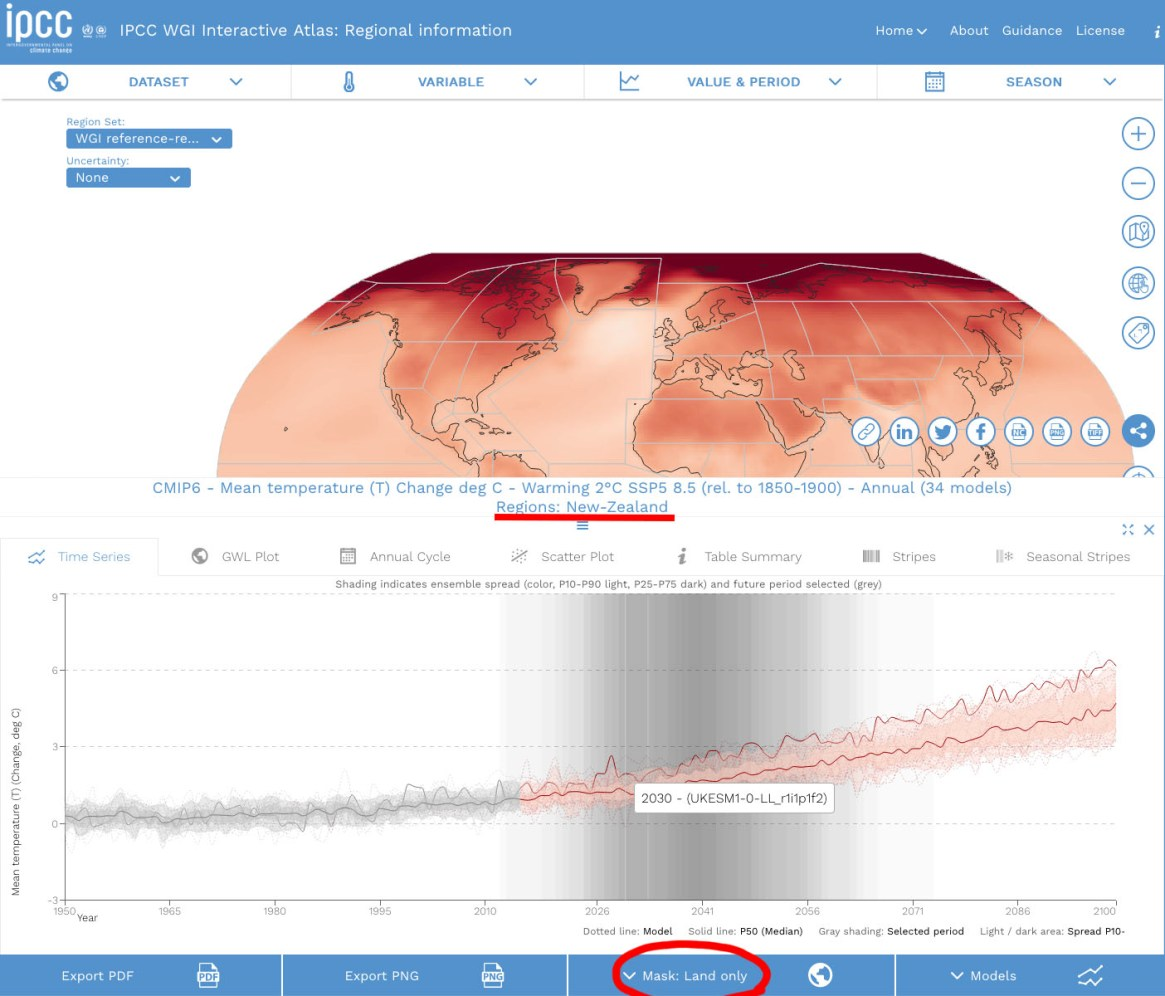 Fig. 3: To see an interactive map, click on the image. This will take you to the IPCC website. This screengrab is an example of how you can enter specific information for regions (in this example, New Zealand/ land only) and check the projected temperature changes over time, based on different models and pathways (i.e. if and by how much we reduced emissions).