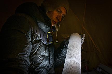 Mario Potocki Inspecting Ice Core.