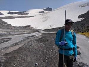 Mauri Pelto on the Sholes Glacier.