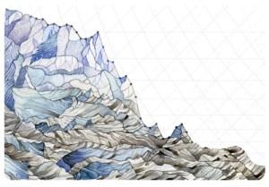 Jill Pelto's painting: Decline in Glacier Mass Balance