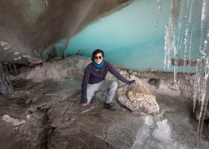 Heather Clifford, exploring an ice cave below the Quelccaya ice cap for an adequate space to store ice cores.