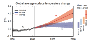 Global average temp change projection