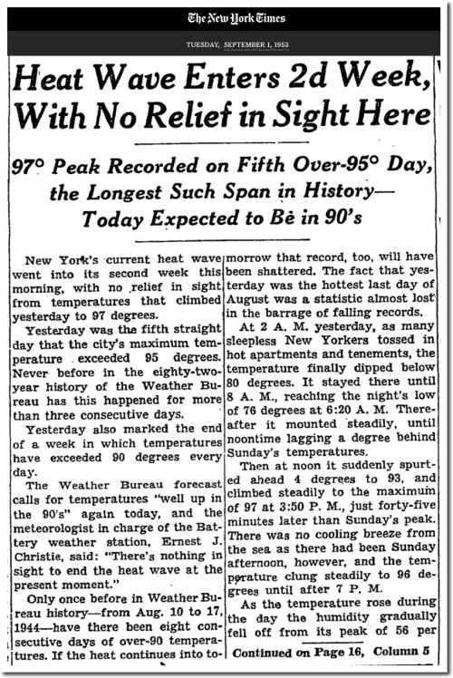 nytimes sept 1 1953 heat wave