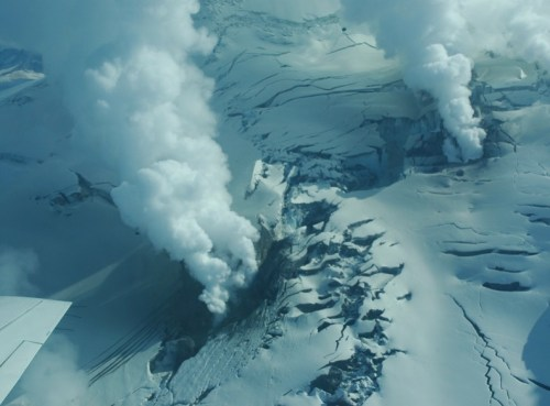 volcanic gas fractured glacier