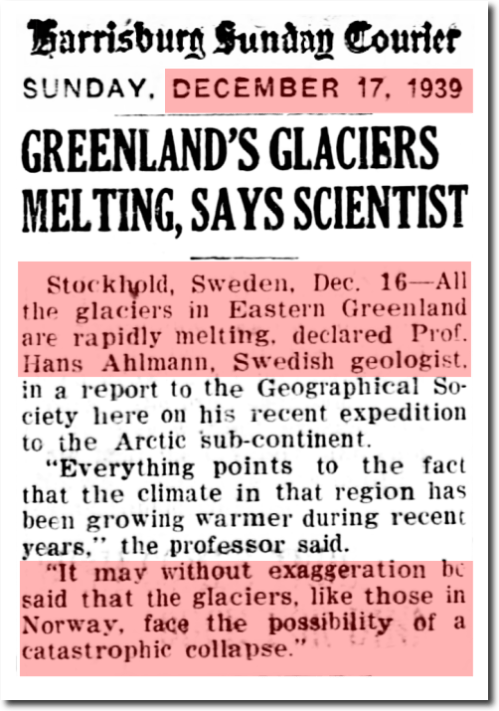 harrisburg dec 1939 greenland melting
