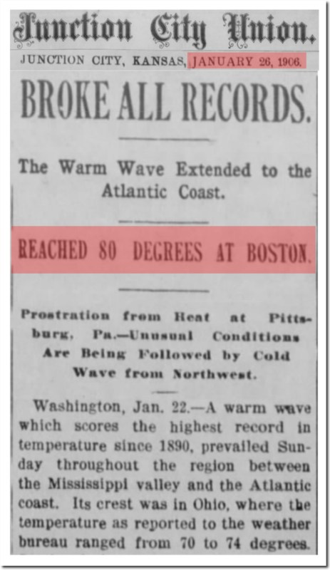 junction city union heat wave jan 26 1906