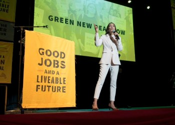 Ocasio-Cortez green new deal rally
