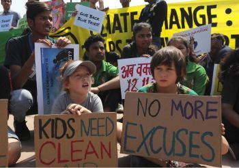 children protest climate