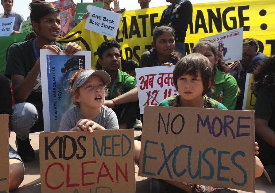 children protest climate