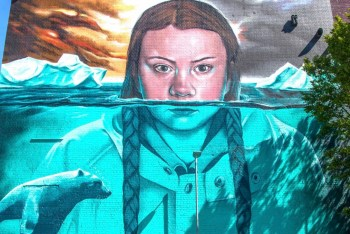 greta thunberg art mural