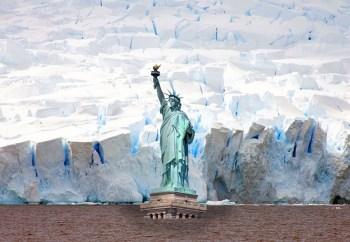 statue liberty ice wall