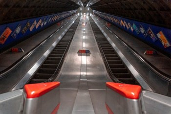 empty escalators tube