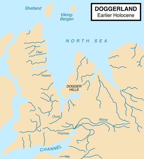 Map showing hypothetical extent of Doggerland (c. 10,000 BC)