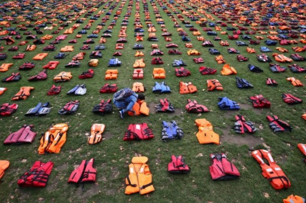 'Thousands Of Life Jackets Laid Out In Parliament Square In Moving Tribute To Refugees'
