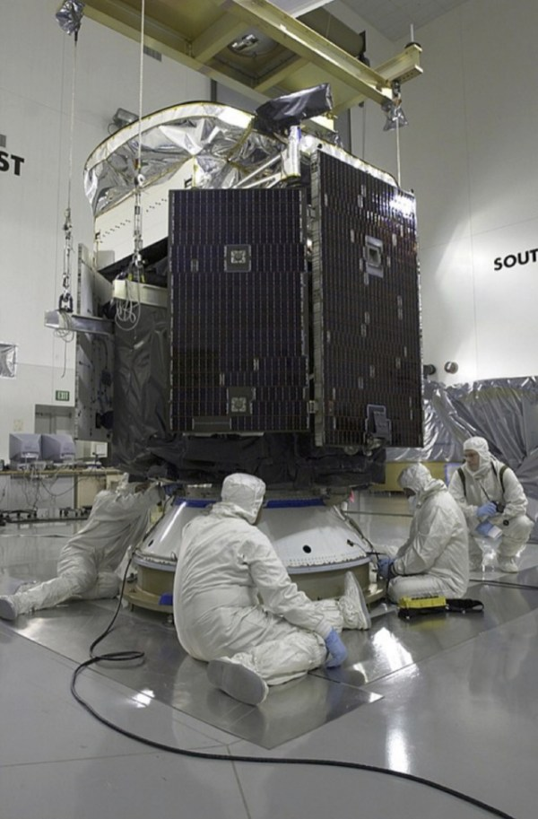 Clouds - Down to earth: CloudSat being prepared for launch in a clean room at Vandenberg Air Force Base, CA, 2005
