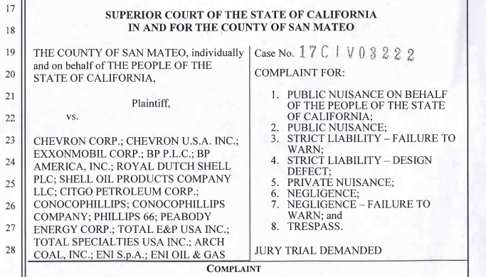 Climate change Lawsuits, San Mateo Climate Lawsuit