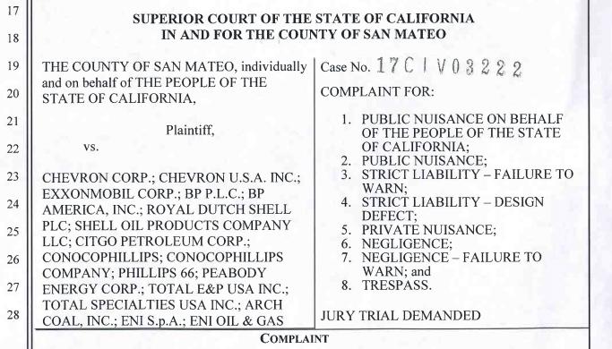 Climate change Lawsuits, San Mateo Climate Lawsuit