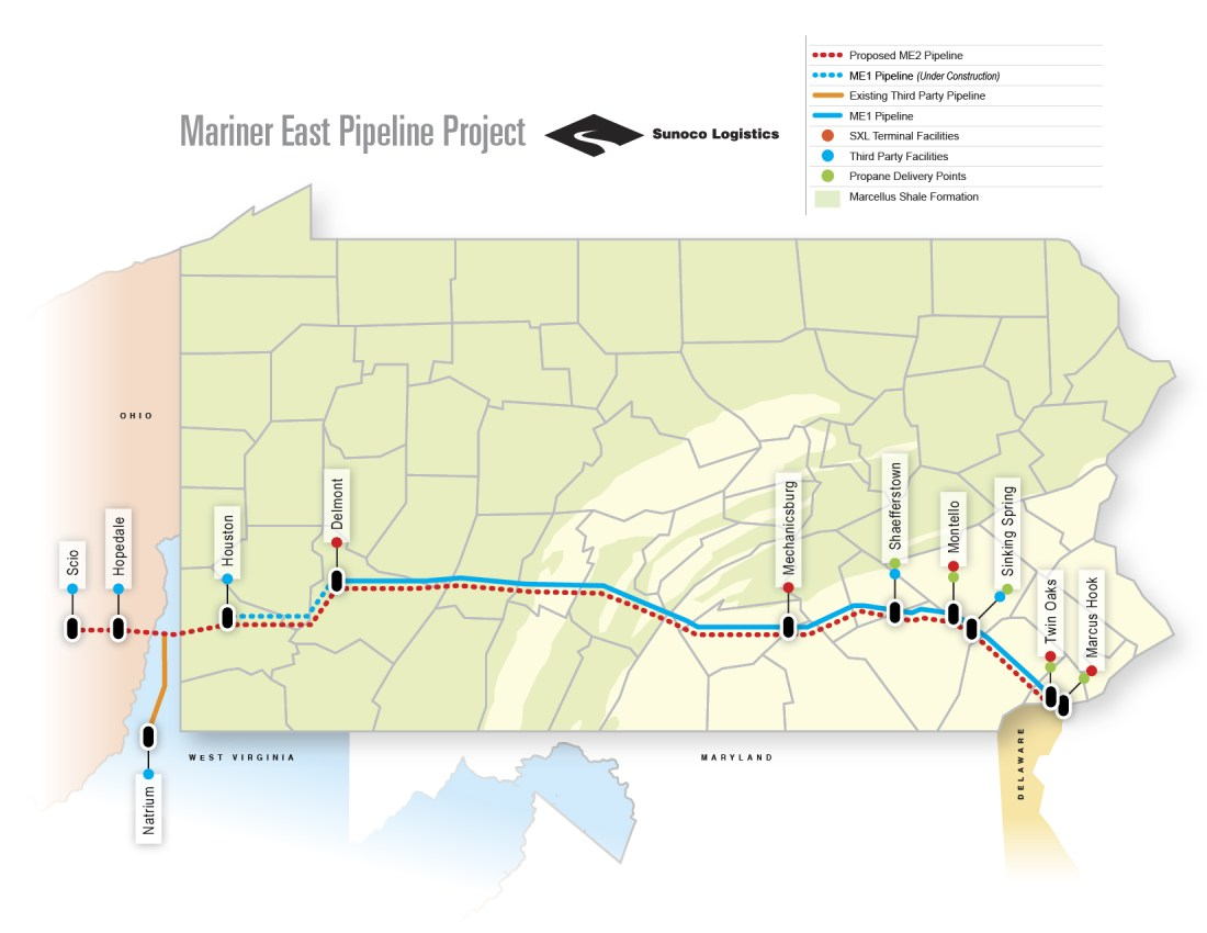 Mariner East Map, Pipelines, Climate Change