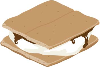 Drawing of a s'more, a sandwich of a marshmallow and a square of chocolate between two graham crackers.
