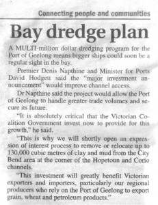 Geelong Independent wrote this about the bay dredge plan - 30 August 2013. Click to enlarge.