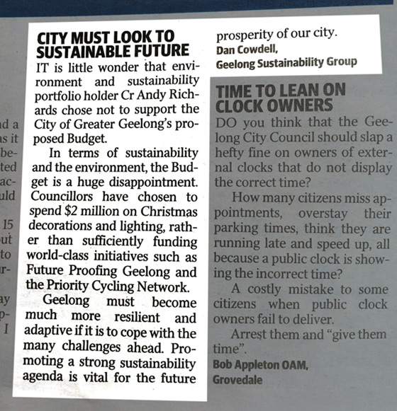 Letter to the Editor in Geelong Advertiser 29 May 2014