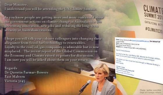Quentins Julie Bishop letter