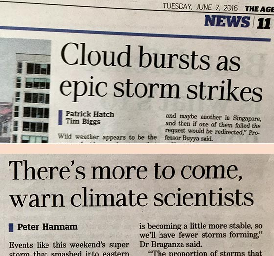 Headlines in The Age on 7 June 2016