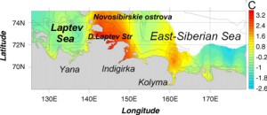 Spatial distribution of bottom sediment temperatures (results of direct measurements)