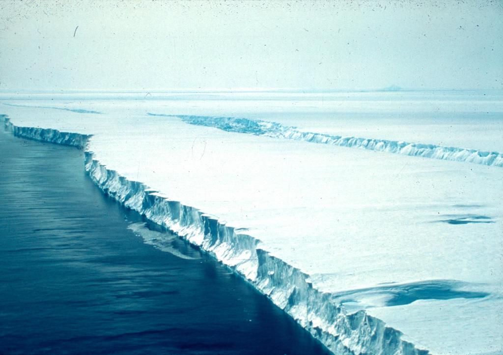 Pine Island Glacier taken by Tom Kellogg onboard the U.S. Coast Guard icebreaker Glacier, 1985, in Pine Island Bay