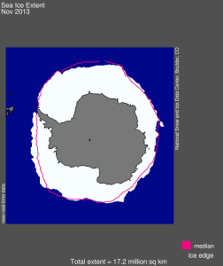 Sea ice extent november 2013 NSIDC