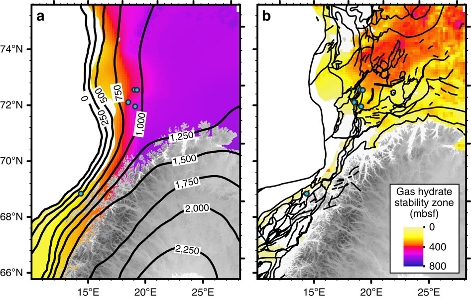 Thickness of GHSZ during the LGM (a) and at present-day conditions (b). Black contours denote (a) the ice-sheet thickness in metres during the LGM51 and (b) broad scale faulting system77. The average value of the geothermal gradient used is 31°Ckm−1 (ref. 52). It is noteworthy that the abyssal plain has not been taken into account in our model.
