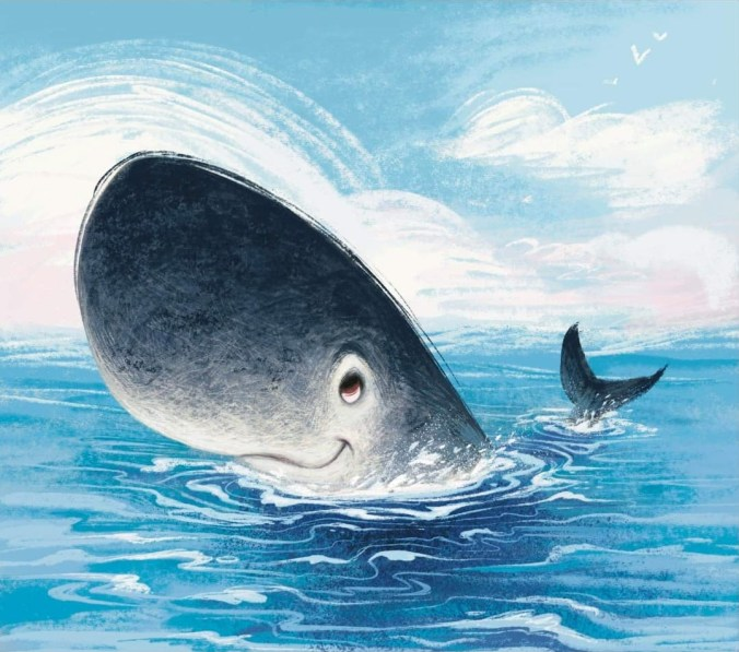 Whale in ocean, head bobing out of water.