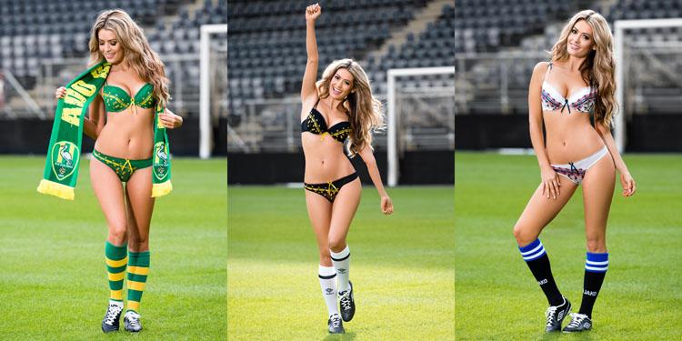 dames in gezellige voetbal lingerie