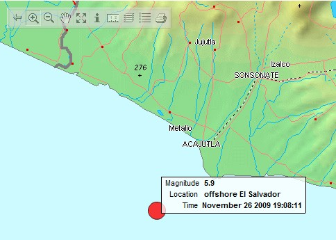 Sismo jueves 1:08pm / 19:08Z costas de El Salvador MAG. 5.9