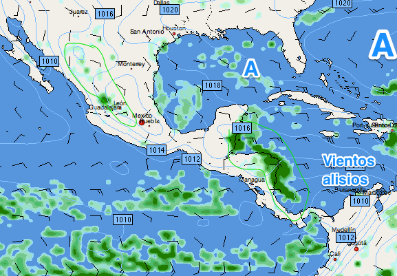 Altas presiones en Golfo de México y fuerte flujo del éste mantendrán condiciones secas.