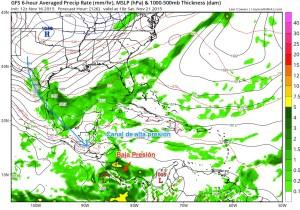 Condiciones previstas sáb. 21 /nov/2015 lluvias fuertes Costa Rica
