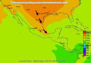 Reforzamiento de Aire frío del norte - Presión Atmosférica