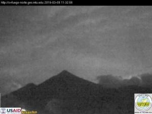 Foto INSIVUMEH volcán de Fuego esta mañana