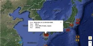 Sismos y réplicas luego de terremoto del jueves 14-04-16 en sur de Japón
