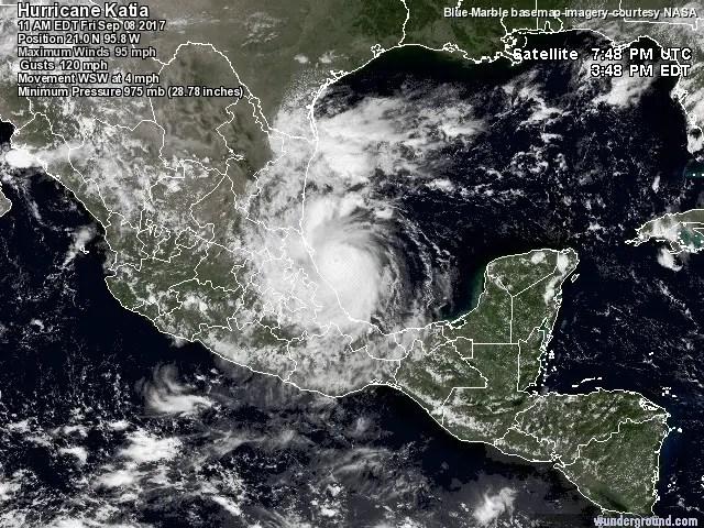 Ubicación de Katia, ya fortalecido, huracán categoría 2.