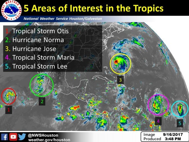 Mapa de la oficina meteorológica de Houston, NWS