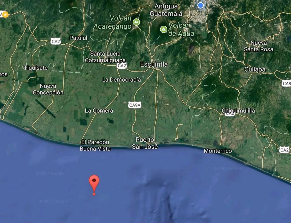 Sismo domingo 19 de noviembre. 21:37h costas de Guatemala