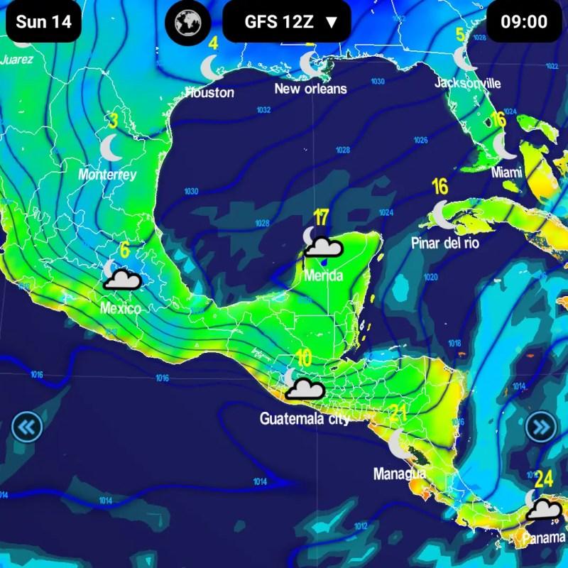 Amanecer del domingo. Lluvias al sur y temperaturas frías en valles de México y Guatemala.