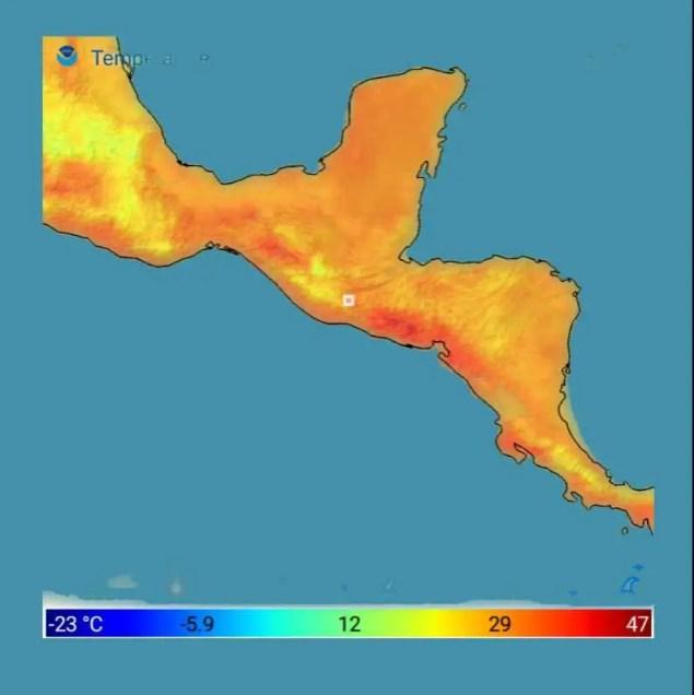 A excepción de áreas en amarillo. Temperaturas cerca o arriba de 30°c
