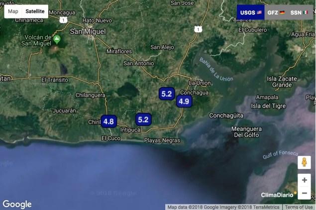 Sismos mayores a M4.5 en las últimas 48h